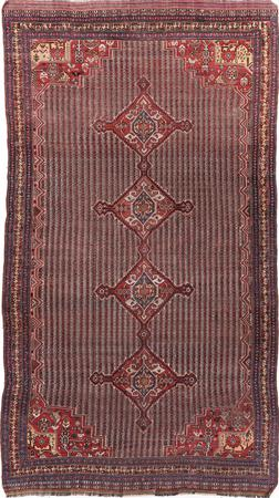 """Hand Knotted Iran Afshar 6'7"""" x 12' Brown Rug"""