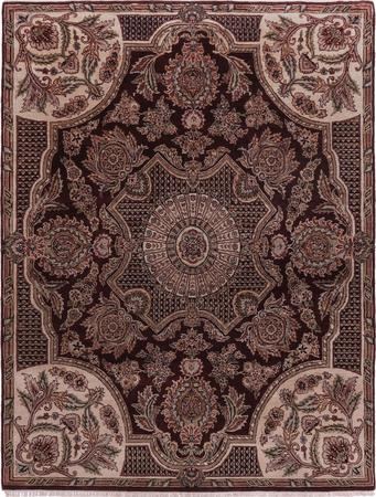 "Hand Made India Aubusson 7'9"" x 10' Red DK Rug"