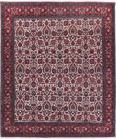 """Hand Knotted Iran Bidjar 8'4"""" x 9'11"""" Ivory Rug"""