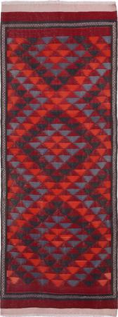 """Hand Knotted Iran Kilim 4'3"""" x 11'7"""" Red DK Rug"""