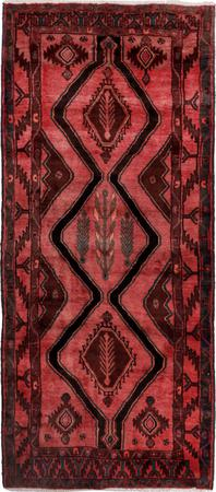 Hand Knotted Iran Hamadan 4' x 9' Lt Red Rug