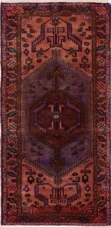 "Hand Knotted Iran Hamadan 3'6"" x 7'6"" Purple Rug"