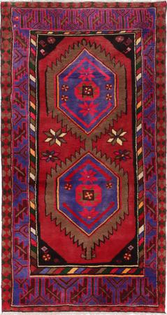"""Hand Knotted Iran Hamadan 3'3"""" x 6'3"""" Red DK Rug"""