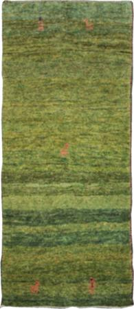Hand Knotted Iran Gabbeh 3' x 6' Green Rug