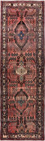 "Hand Knotted Iran Hamadan 3'5"" x 10'5"" Red LT Rug"