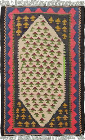 "Hand Knotted Iran Kilim 1'6"" x 2'6"" Ivory Rug"