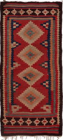 """Hand Knotted Iran Kilim 3'9"""" x 7'2"""" Red Rug"""