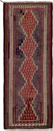 """Hand Knotted Iran Kilim 4'4"""" x 10'4"""" Orange Rug"""