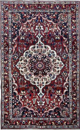 """Hand Knotted Iran Bakhtiari 6'6"""" x 10'6"""" Red DK Rug"""
