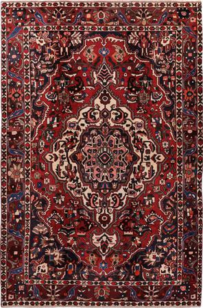 """Hand Knotted Iran Bakhtiari 6'7"""" x 9'11"""" Red DK Rug"""
