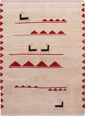 "Hand Knotted Iran Gabbeh 6' x 8'8"" Ivory Rug"