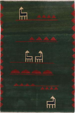 "Hand Knotted Iran Gabbeh 6' x 8'8"" Green DK Rug"