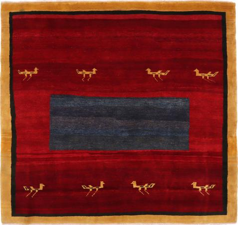 "Hand Knotted Iran Gabbeh 7'2"" x 6'10"" Red DK Rug"