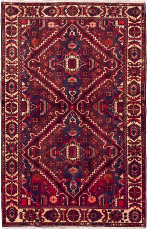 """Hand Knotted Iran Bakhtiari 5'4"""" x 8'3"""" Red DK Rug"""