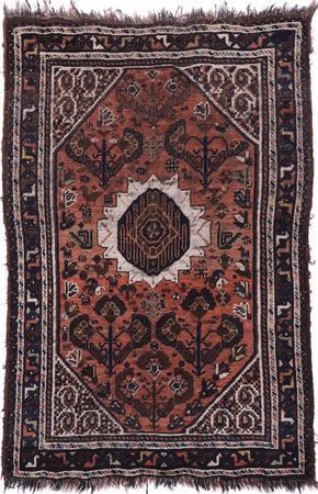 "Hand Knotted Iran Shiraz 3'5"" x 5' Orange LT Rug"