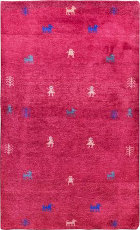 "Hand Knotted Iran Gabbeh 2'11"" x 4'9"" Red Rug"