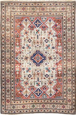 """Hand Knotted Iran Tabriz 4'5"""" x 6'3"""" Beige Rug"""