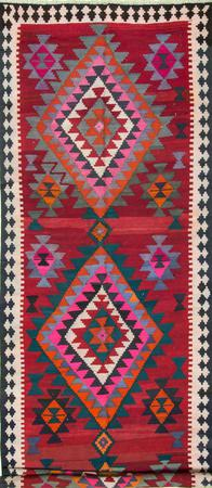 """Hand Knotted Iran Kilim 5'7"""" x 17'4"""" Red Rug"""