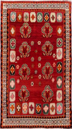 """Hand Knotted Iran Shiraz 4'2"""" x 7'3"""" Red Rug"""