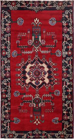 """Hand Knotted Iran Wiss 4'4"""" x 8' Red Rug"""