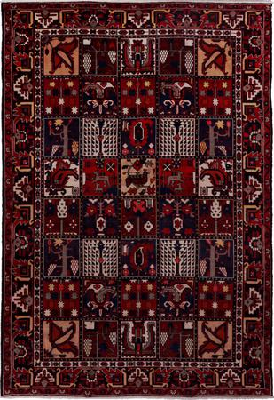 Hand Knotted Iran Bakhtiari 7' x 10' Multi Rug