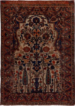"Hand Knotted Iran Bakhtiari 4'5"" x 6'3"" Ivory Rug"