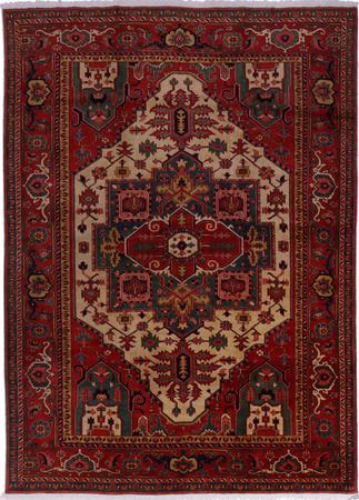 "Hand Made Iran Heriz 8'3"" x 11' Ivory Rug"