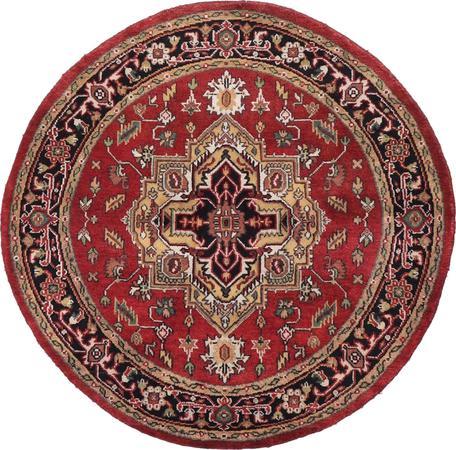 Hand Made India Serapi 5' x 5' Red Rug