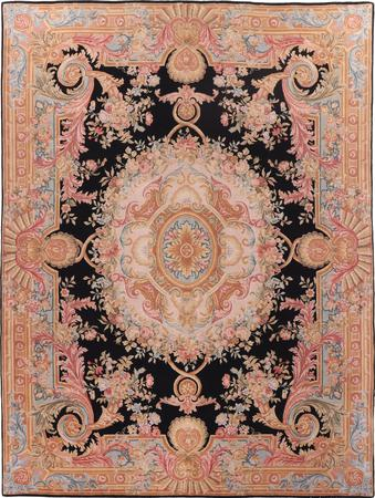 Hand Made China Savonnerie 9' x 12' Black Rug