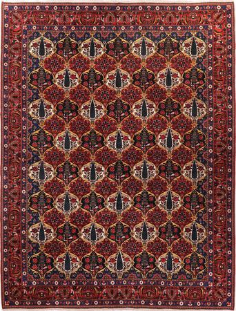 "Hand Knotted Iran Bakhtiari 10' x 13'5"" Orange DK Rug"