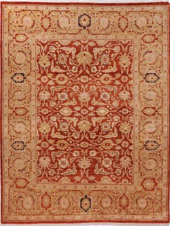 "Hand Made Pakistan Sultanabad 8'10"" x 11'5"" Orange Rug"