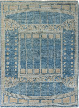 Hand Made Pakistan Transitional 6' x 9' Blue Rug