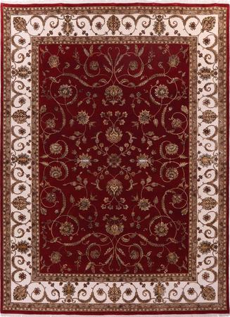 """Hand Knotted India Sultanabad 9'2"""" x 12'3"""" Red Rug"""