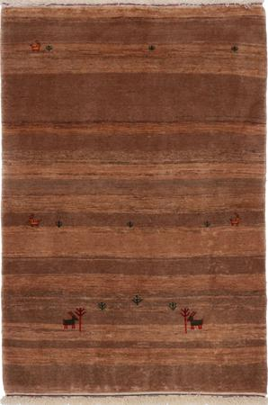 "Hand Knotted Iran Gabbeh 3'7"" x 5'2"" Tan Rug"