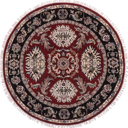 Hand Made India Mahal 4' x 4' Red Rug