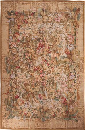 "Hand Made China Savonnerie 11'10"" x 18'4"" Green Rug"