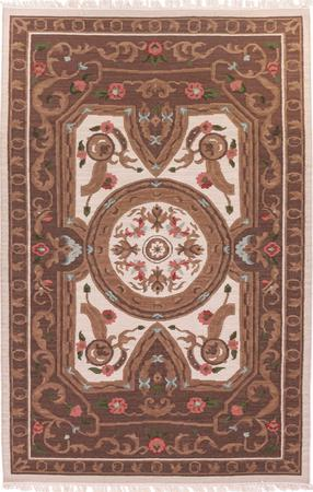 "Hand Made India Savonnerie 5'4"" x 8'2"" Tan Rug"