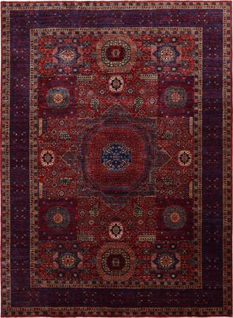 "Hand Made Pakistan Mamluk 9'8"" x 13'8"" Orange DK Rug"