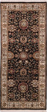 "Hand Knotted Iran Tabriz 2'6"" x 5'11"" Black Rug"