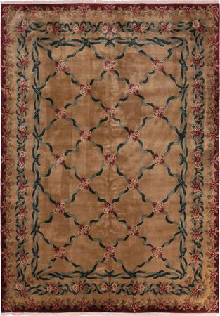"Hand Made India Aubusson 10'3"" x 14' Beige Rug"