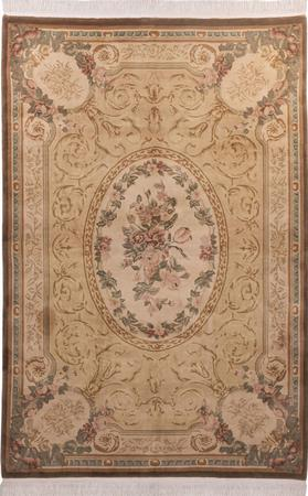 Hand Made China Aubusson 6' x 9' Yellow Rug