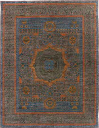 "Hand Made Pakistan Mamluk 7'10"" x 10'2"" Blue Rug"