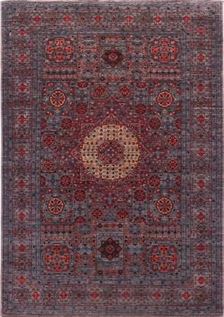 "Hand Made Pakistan Mamluk 4' x 5'8"" Blue Rug"