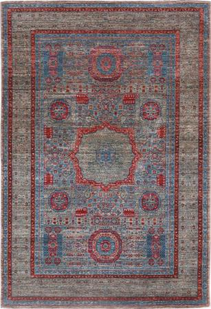 "Hand Made Pakistan Mamluk 4' x 5'11"" Blue Rug"