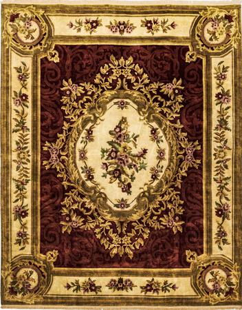 "Hand Made India Aubusson 8' x 9'10"" Red DK Rug"