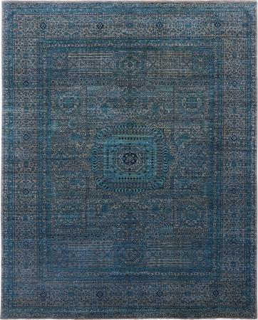 "Hand Made Pakistan Mamluk 8'2"" x 10'4"" Blue Rug"