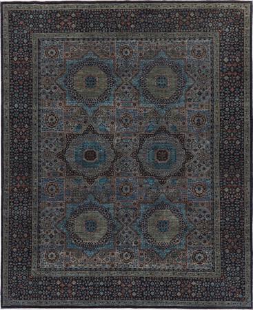 "Hand Made Pakistan Mamluk 8' x 9'11"" Blue LT Rug"