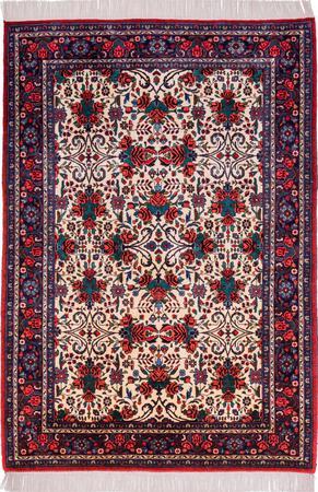"""Hand Knotted Iran Bidjar 3'9"""" x 5'5"""" Ivory Rug"""