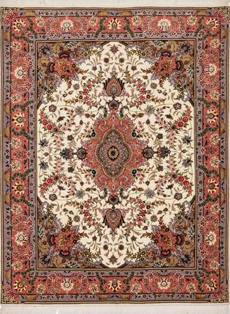 """Hand Knotted Iran Tabriz 4'10"""" x 6'5"""" Beige Rug"""
