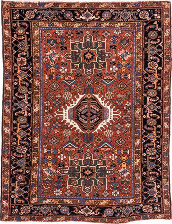 "Hand Knotted Iran Karaja 4'6"" x 5'11"" Rust Rug"